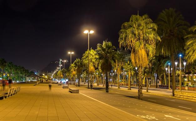 Barcelona embankment in night