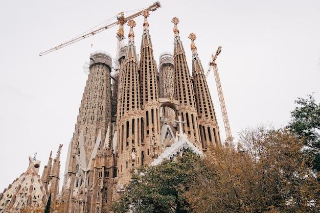 Barcelona spain  december facade of passions sagrada familia in barcelona