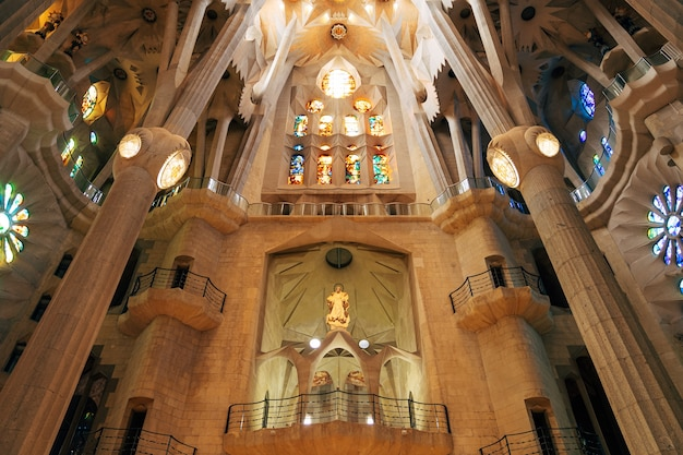 Barcelona spain december sagrada familia interiors columns vaults stained glass and ceiling in