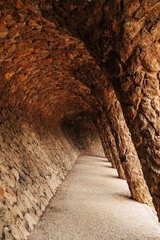 바르셀로나 스페인 12월 공원 구엘 바르셀로나 스페인에서 산책로