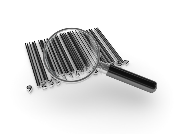 Barcode with magnifying glass