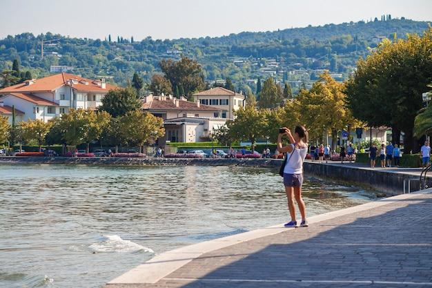 Bardolino, italy 16 september 2020: bardolino view on garda lake in italy