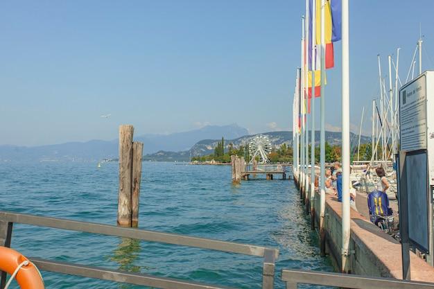 Bardolino, italy 16 september 2020: port on garda lake of bardolino with boats