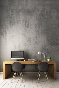 Bare cement wall with modern chair