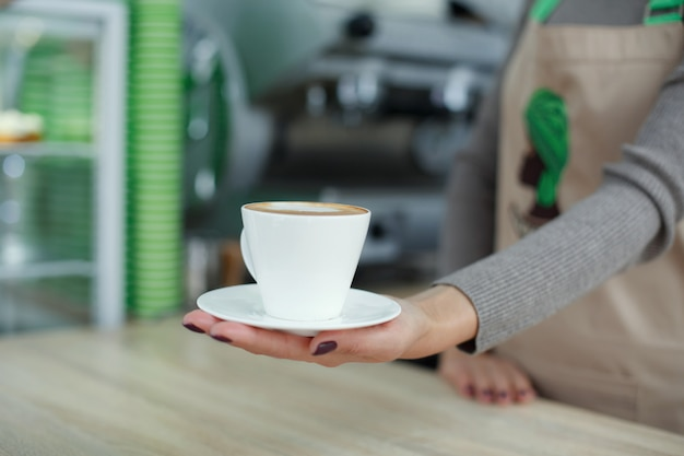 Barista in apron in coffee shop give just brewed fresh coffee to customer