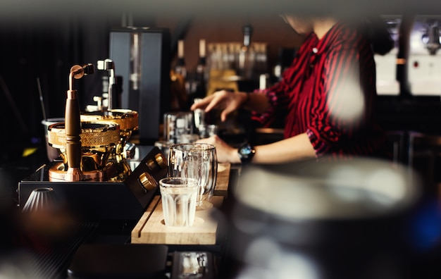 Barista cafe making coffee preparation service concept.people with barista in cafe.
