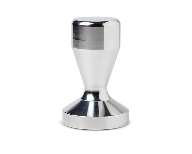 Комплект бариста. тампер кофе, изолированные на белом пространстве.