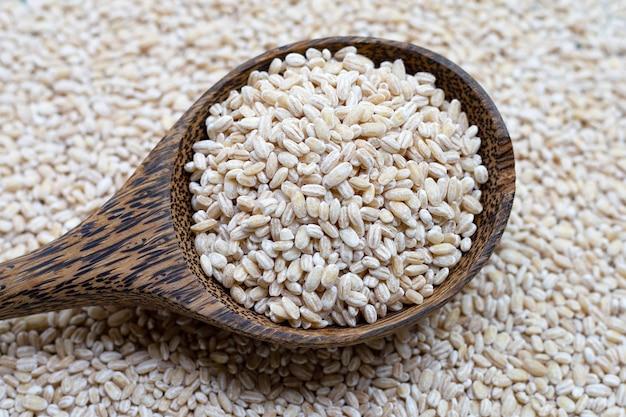 Зерно ячменя в деревянной ложке на предпосылке зерна ячменя.