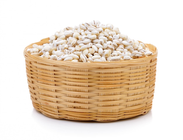 Barley grains in the basket isolated