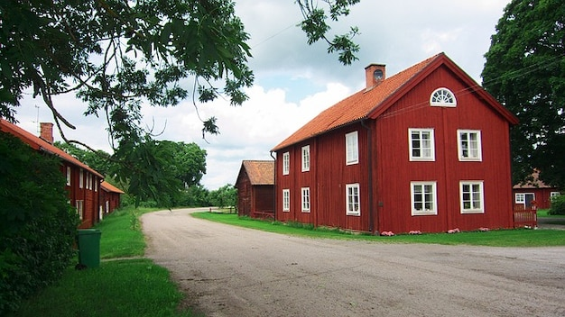 Barn rural sky home clouds farm house sweden