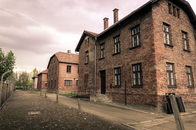 Barracks for prisoners, german concentration camp auschwitz ii, birkenau, poland.