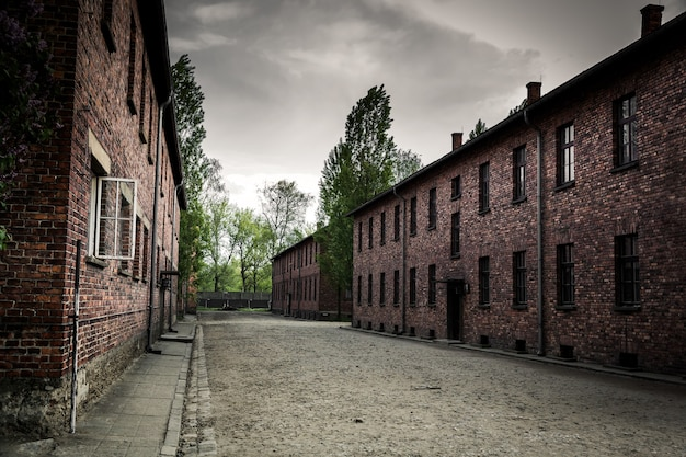Barracks on territory of german concentration camp auschwitz ii, birkenau, poland