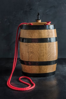 Barrel and worn old table of wood