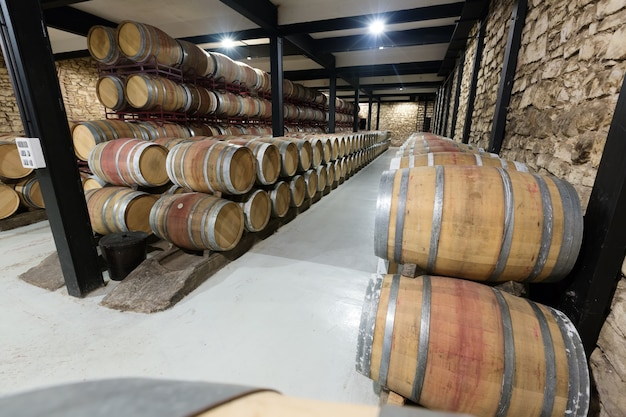 Barrels in contemporary winery