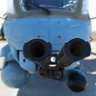 Barrels of modern helicopter cannon close-up