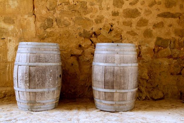 Barrels of wine built in oak wood from spain
