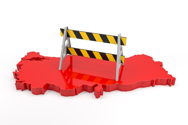 Barrier on extruded turkey map. 3d rendering