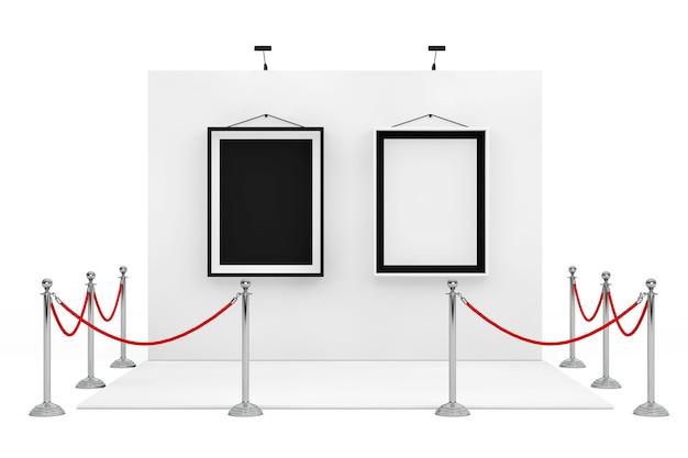 Барьерная веревка вокруг будки торговой выставки с черно-белыми рамками на белом фоне. 3d-рендеринг.