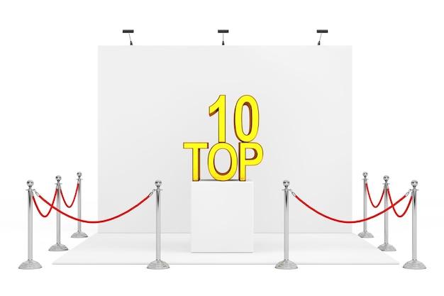 白地にゴールデントップ10サインオーバースタンドを備えたトレードショーブース周辺のバリアロープ。 3dレンダリング。