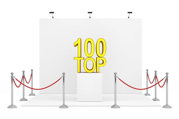 白地にゴールデントップ100サインオーバースタンドを備えたトレードショーブース周辺のバリアロープ。 3dレンダリング。
