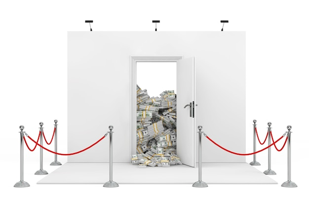 Barrier rope around trade show booth with white opened door with heap of dollar bills on a white background. 3d rendering.