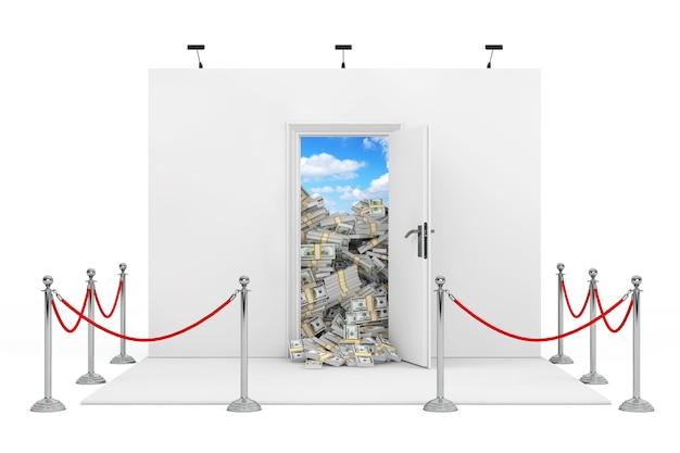 흰색 바탕에 달러 지폐의 더미와 함께 흰색 열린된 문 무역 박람회 부스 주위 장벽 밧줄. 3d 렌더링.