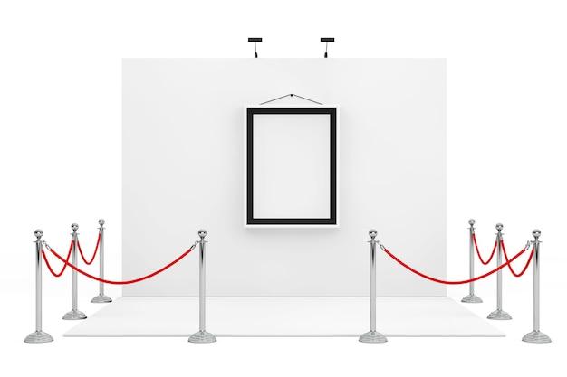 Барьерная веревка вокруг будки торговой выставки с белой картинной рамкой на белой предпосылке. 3d-рендеринг.