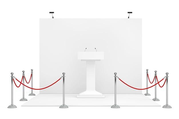 Барьерная веревка вокруг будки торговой выставки с белой стойкой трибуны трибуны подиума с микрофонами на белой предпосылке. 3d-рендеринг.