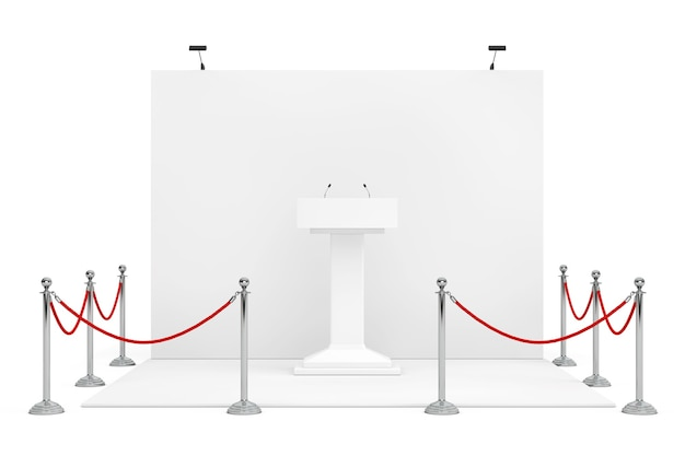 Barrier rope around trade show booth with white podium tribune rostrum stand with microphones on a white background. 3d rendering.