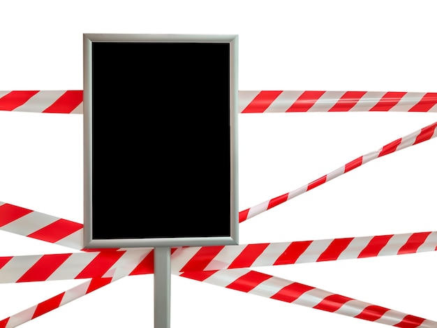 Barrier tape and blank sign isolated. pass is forbidden, security tape. signal tape that prohibits entry