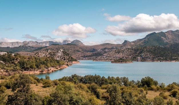 The barrios de luna lake in spain surrounded by mountains