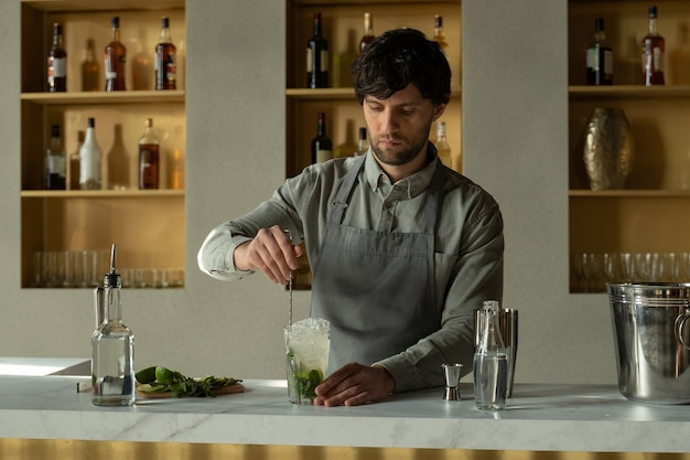 Bartender mixes an alcoholic mojito cocktail with a spoon