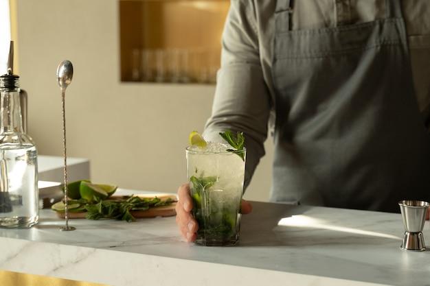 Бармен готовит и смешивает коктейли за барной стойкой, коктейль мохито подается в баре ресторана Premium Фотографии