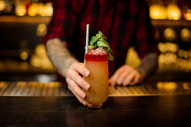 Bartender serving a delicious trinidad swizzle cocktail in the glass with tubule and mint leaves on the bar counter
