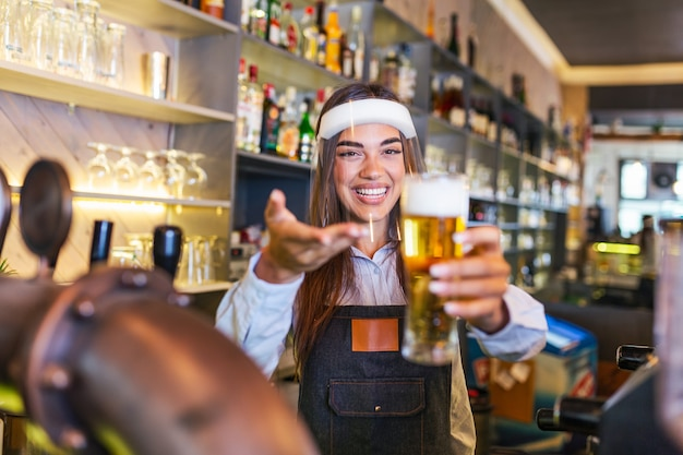 Bartender with face shield