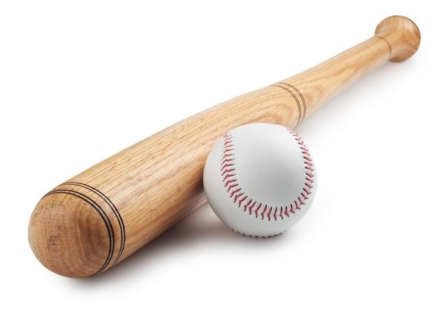 화이트에 야구와 야구 방망이