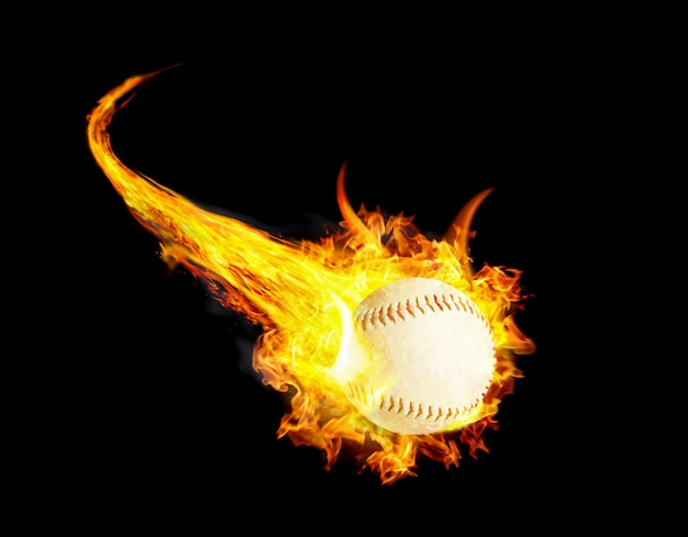 Baseball ball on fire with smoke and speed
