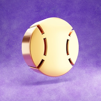 보라색 벨벳에 고립 된 야구 공 아이콘