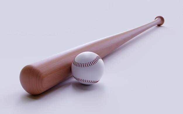 野球のバットとボールの白。 3 dレンダリング図