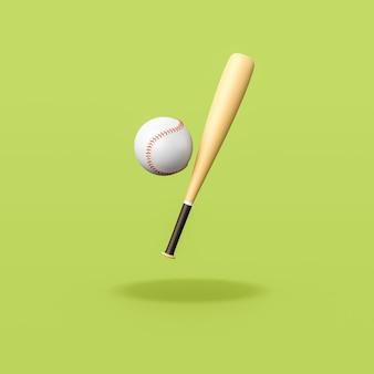 Baseball bat and ball on green background