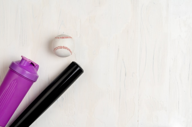 Baseball bat and ball, view from above