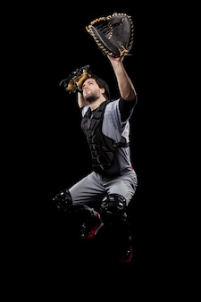 Baseball catcher with his glove