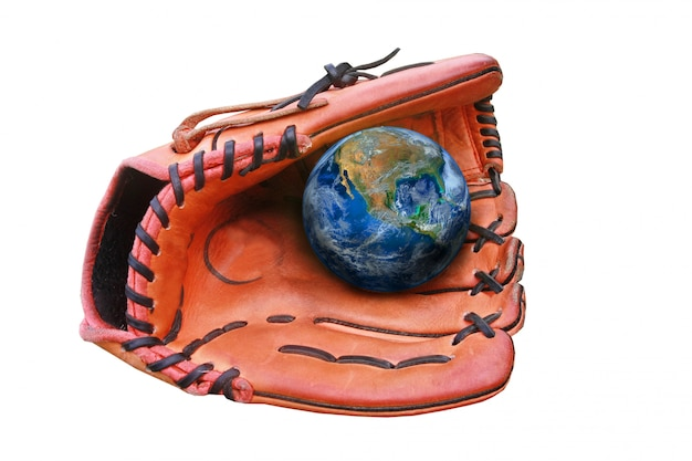 Baseball gloves and ball, earth sign ,including elements furnished by nasa