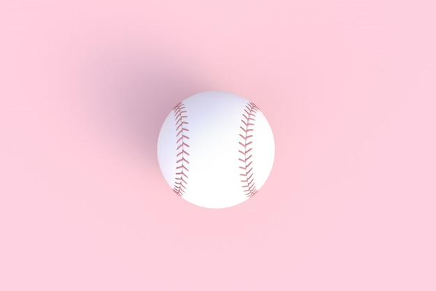 Baseball isolated on pink background, 3d rendering