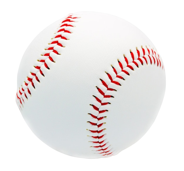 Baseball isolated on white wall with clipping path