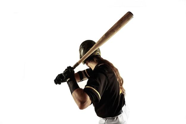 야구 선수, 검은 제복을 입은 투수 연습과 훈련 흰색 배경에 고립.