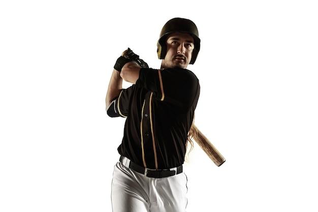 야구 선수, 검은 제복을 입은 투수 연습과 흰 벽에 고립 훈련. 행동과 움직임에 젊은 전문 운동가. 건강한 라이프 스타일, 스포츠, 운동 개념.