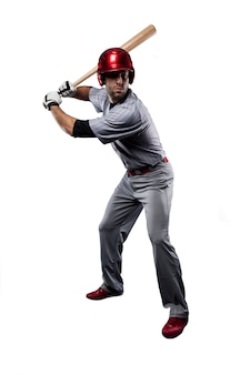 Baseball player in red uniform,.