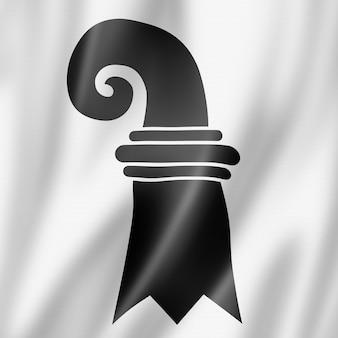 Basel stadt canton - state - flag, switzerland waving banner collection. 3d illustration