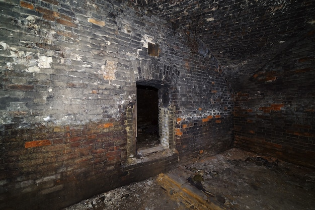 Basement of an old house with a domed vault. the picture was taken in russia, in orenburg